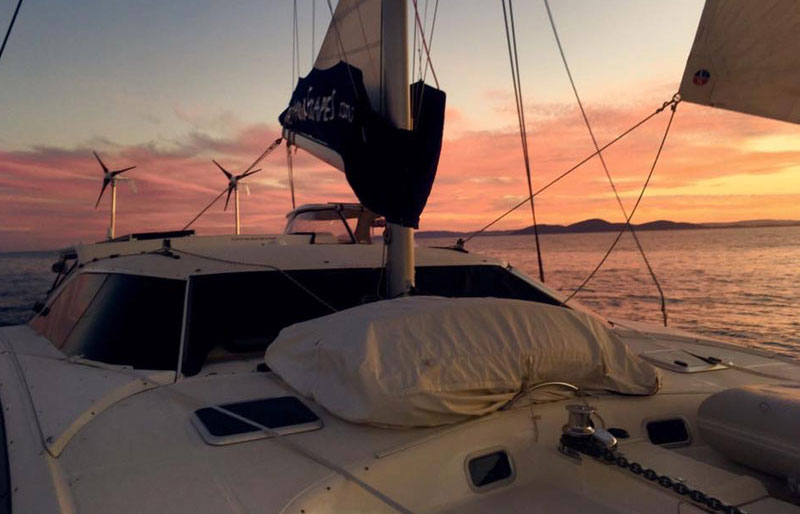 sunset on the catamaran